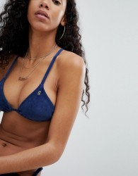 Juicy Couture Velvet Effect Bikini Top - Navy