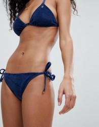 Juicy Couture Velvet Tie Side Bikini Bottoms With Logo Back - Navy