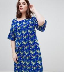 Junarose Fluted Sleeve Floral Dress - Multi
