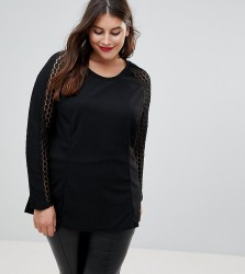 Junarose Lace Sleeve Top - Black
