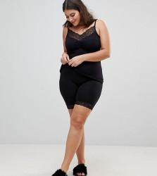 Junarose Shape Shorts With Lace Trim - Black