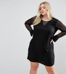 Junarose Shift Dress With Polka Dot Sleeves - Black