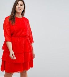 Junarose Sparkle Ruffle Dress Skater Dress - Red
