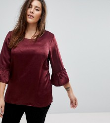 Junarose Woven Shell Top With Frill Sleeve - Red