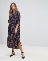 Just Female Tia Floral Print Slit Shift Dress - Navy