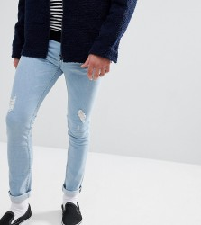 Just Junkies Skinny Jeans In Light Wash With Rip And Repair - Blue