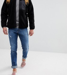 Just Junkies Tapered Jeans In 90s Wash With Abrasions - Blue