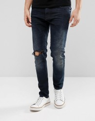 Just Junkies Tapered Jeans In Dark Wash With Abrasions - Blue