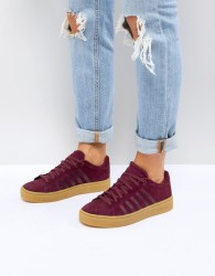 K-Swiss Court Frasco Trainers In Burgundy With Gum Sole - Red