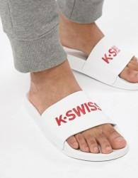 K-Swiss Logo Sliders In White - White