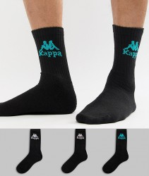 Kappa 3 Pack Banda Socks In Black - Black