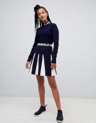 Karl Lagerfeld contrast knit skater skirt - Navy