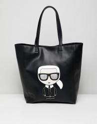 Karl Lagerfeld iconic leather shopper bag - Black