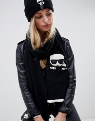 Karl Lagerfeld iconic pocket knit scarf - Black
