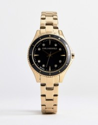 Karl Lagerfeld KL1641 ladies gold plated watch with black dial - Gold