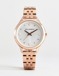Karl Lagerfeld KL3011 ladies rose gold watch with white dial - Pink