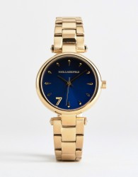 Karl Lagerfeld KL5001 ladies gold plated watch with blue dial - Gold