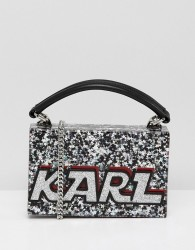 Karl Lagerfeld logo glitter minaudiere box bag - Silver