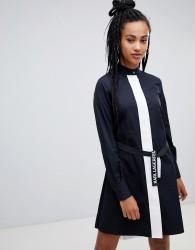 Karl Lagerfeld poplin shirt dress with pleats - Black