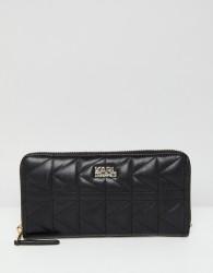 Karl Lagerfeld quilted zip around wallet - Black