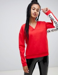 Karl Lagerfeld v neck logo sweatshirt - Red