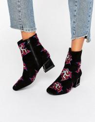 Kat Maconie Daphne Black Dancer Print Heeled Ankle Boots - Black