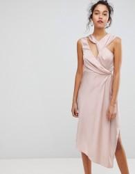 Keepsake Asymmetric Midi Dress - Pink