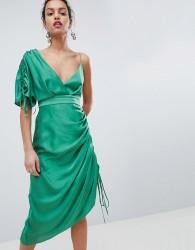 Keepsake asymmetric shoulder midi dress - Green