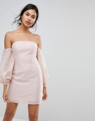 Keepsake Bardot Beaded Mini Dress - Pink