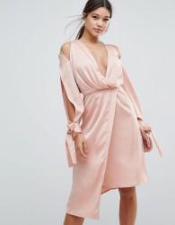 Keepsake Bow Back Too Late Dress - Pink