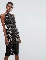 Keepsake Bridges Lace Midi Dress - Black