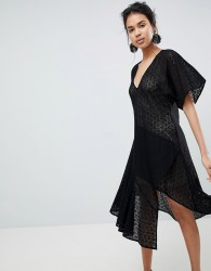 Keepsake Dreamers Lace V-Neck Dress - Black