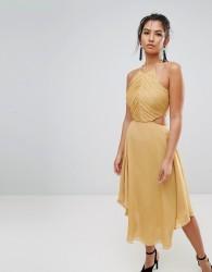 Keepsake Elevate Cut Out Midi Dress - Gold