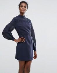 Keepsake Embroidered Belle Sleeve Mini Dress - Navy