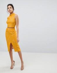 Keepsake Every Way Lace Midi Skirt - Yellow