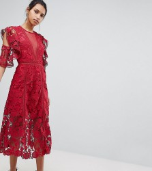 Keepsake Exclusive Floral Lace Midi Dress - Red