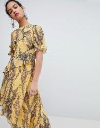 Keepsake Floral Asymmetrical Dress - Yellow