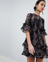 Keepsake Floral Frill Mini Dress - Black