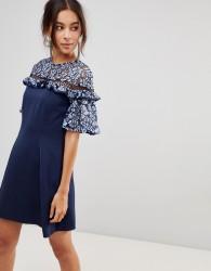 Keepsake Floral Lace Sleeve Dress - Blue