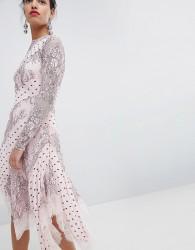 Keepsake Lace and Spot Midi Dress - Pink