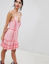 Keepsake lace dress with contrast trim - Pink
