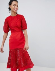 Keepsake lace midi dress in ruby red - Red