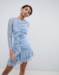 Keepsake lace ruffle mini dress - Blue