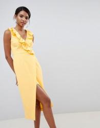 Keepsake midi wrap dress with ruffle detail - Yellow