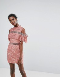 Keepsake Oblivion Lace Mini Dress - Orange
