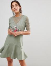 Keepsake Rosebud Embroiderey Mini Dress - Green