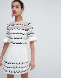 Keepsake scallop ruffle mini dress - White
