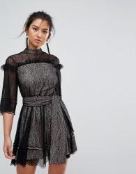 Keepsake Slide Lace Mini Dress With Tie - Black