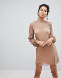 Keepsake Step Down Slinky Shift Dress - Copper