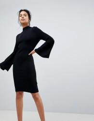Keepsake Surrender Flared Sleeve Knit Dress - Black